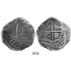 """Lima, Peru, cob 4 reales, 1659(V), """"Star of Lima,"""" extremely rare."""