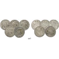 Lot of 5 Italy (Tassarollo), luiginos, 1666-7, choice specimens.