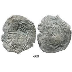 "Brazil, 600 reis (""600"" countermark of 1663 on a Potosi, Bolivia, cob 8 reales, 1653E), rare."