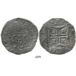 "Brazil, 500 reis (""S00"" countermark of 1663 on an Evora, Portugal, 400 reis of John IV), rare."