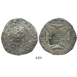 "Brazil, 500 reis (""S00"" countermark of 1663 on a Lisbon, Portugal, 400 reis of John IV)."