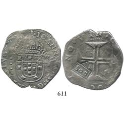 "Brazil, 500 reis (""500"" countermark of 1663 with upside-down 5 and unusual crown on a Lisbon, Portug"