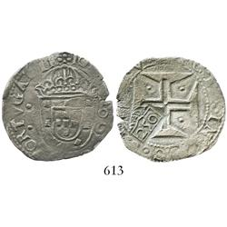 "Brazil, 250 reis (""250"" countermark of 1663 on a Lisbon, Portugal, 200 reis of John IV)."