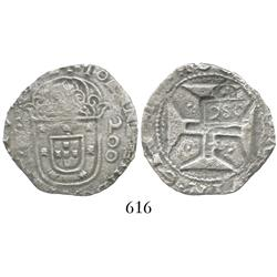 "Brazil, 250 reis (""2S0"" countermark of 1663 on a Lisbon, Portugal, 200 reis of John IV)."