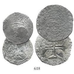 Lot of 2 coins, both corroded: Lisbon, Portugal, 400 reis, no countermark visible, probably John IV;