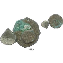 Uncleaned and encrusted clump of one 8R and two 1R of Potosi, Bolivia (unreadable), one of the 1R no