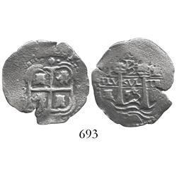 Potosi, Bolivia, cob 2 reales, 1655E (second 5 large), PH at top.