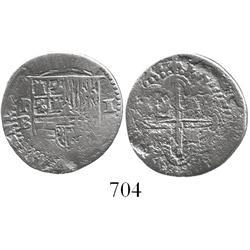 Potosi, Bolivia, cob 1 real, Philip II, assayer B (3rd period).