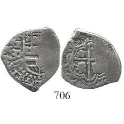 Potosi, Bolivia, cob 1 real, Philip IV, assayer O, scarce.