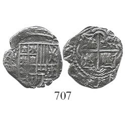 Potosi, Bolivia, cob 1 real, Philip IV, assayer E, scarce.