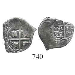 Potosi, Bolivia, cob 1 real, 1673/2E, rare.