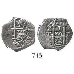 Potosi, Bolivia, cob 1 real, 1675E.