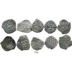Lot of 5 Potosi, Bolivia, pillars-and-waves cob 1R, Philip IV and/or Charles II, all dated (1650s-16