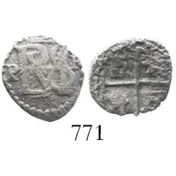 Potosi, Bolivia, cob 1/2 real, Philip II, assayer R (Ramos) to right, mintmark P to left, rare denom