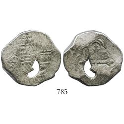 Mexico City, Mexico, cob 4 reales, Charles II, assayer G, natural bubble in metal.