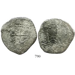 Potosi, Bolivia, cob 8 reales, 1665E, scarce mint for this wreck.