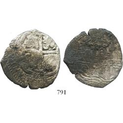 Potosi, Bolivia, cob 8 reales, 1675E, scarce mint for this wreck.