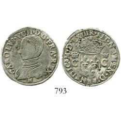 Toulouse, France, half testoon, Charles IX (1560-74), dated 1563 in Roman numerals, mintmark M below