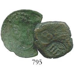 Lot of 2 Spanish copper 8 maravedis with countermarks.