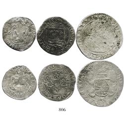 Lot of 3 Dutch minors (half ducatoon, schilling, and 6 stuivers), various dates and mints.
