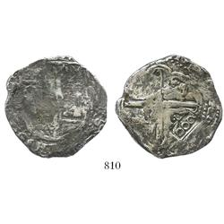 Brazil, 600 reis countermark (1663) on a Potosi, Bolivia, cob 8R (1640s, assayer not visible), very