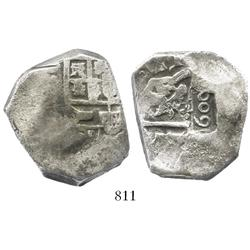 Brazil, 600 reis countermark (1663) on Spanish cob 8R (mint uncertain, assayer not visible), very ra