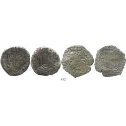 Lot of 2 Potosi, Bolivia, cob 8 reales, 165(?)(E) and 1688VR.