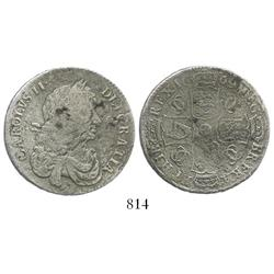 London, England, half crown, Charles II, 1669/4, rare.