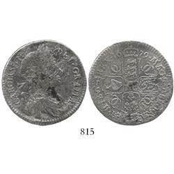 London, England, half crown, Charles II, 1679, GRATTA error, extremely rare.