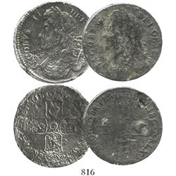 Lot of 2 half crowns of James II, dates not fully visible (1685-88), rare.
