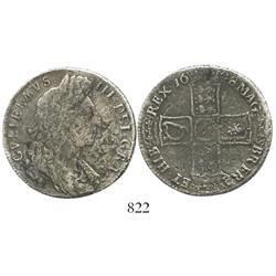 London, England, half crown, William III, 1698.