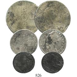 Lot of 3 coins of William III, dated 1696 (half crown, shilling, sixpence).