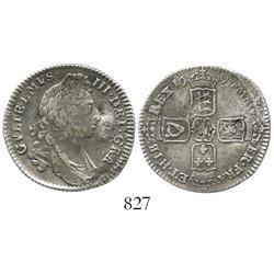 London, England, shilling, William III, 1697.