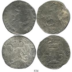 "Lot of 2 United Netherlands ""rider"" ducatoons (Kampen, 1666, and Overijssel, undated)."