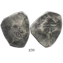 Mexico City, Mexico, cob 8 reales, Charles II, assayer not visible, struck from 4R dies and cut down