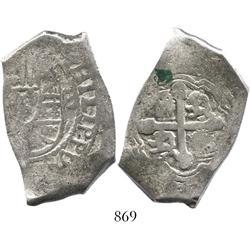 Mexico City, Mexico, cob 8 reales, Philip V, assayer not visible, full king's name.