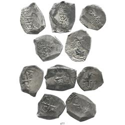 Lot of 5 Mexico City, Mexico, cob 8R, Philip V, assayer not visible.