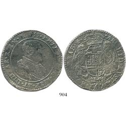 Brabant, Spanish Netherlands (Antwerp mint), portrait ducatoon, Philip IV, 1657, choice.