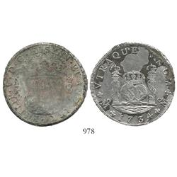 Mexico City, Mexico, pillar 8 reales, Philip V, 1734MF, half encrusted.