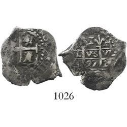 Lima, Peru, cob 1 real, 1697/6H, rare overdate (unlisted).