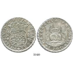 Mexico City, Mexico, pillar 8 reales, Philip V, 1740MF, choice.