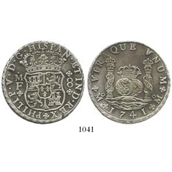 Mexico City, Mexico, pillar 8 reales, Philip V, 1741MF, choice.