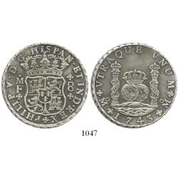 Mexico City, Mexico, pillar 8 reales, Philip V, 1743MF, choice.