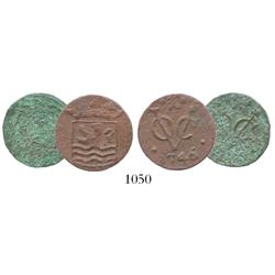 Lot of 2 Zeeland, Dutch East India Co. (VOC), copper duits, dated 1746 (one uncleaned as found), ver
