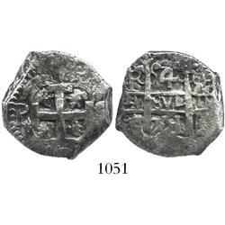 Potosi, Bolivia, cob 4 reales, 1751q (possibly q/E).
