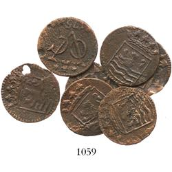 Lot of 7 Dutch East India Co. copper duits, 1752.