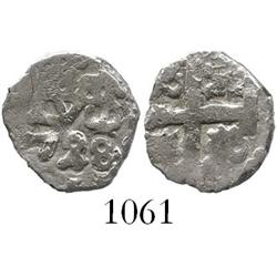 Lima, Peru, cob 1/2 real, 1728, rare denomination as from a wreck.