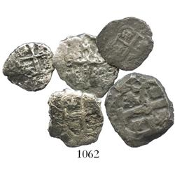 Lot of 5 silver-cob minors of Lima, Peru, and Potosi, Bolivia, including one 4R, two 2R and two 1R.