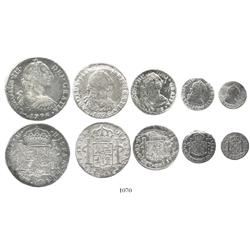 Denomination set of 8-4-2-1-1/2 reales dated 1776, assayer FF, desirable date and rare as a set, the