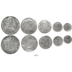 Denomination set of 8-4-2-1-1/2 reales dated 1779, assayer FF, rare as a set, the 4R particularly ra